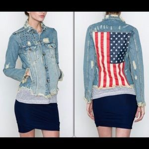 UNIF distressed denim American Flag jacket